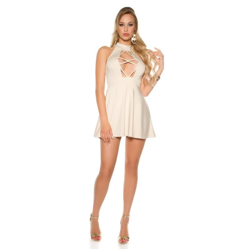 new style 481f3 d2e79 Trendy Mini Dress Donna Gonna Svasata Con Sensuale Scollo Provocante  Girocollo Chiusura Zip