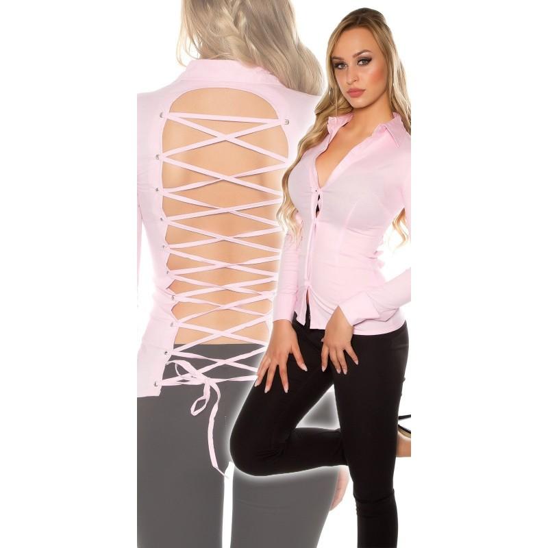 bcd38262f3 Camicia Donna Sexy Alla Moda Con Sensuale Schiena Scoperta Intreccio  Maniche Lunghe