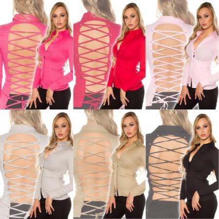 Camicia Donna Sexy Alla Moda Con Sensuale Schiena Scoperta Intreccio Maniche Lunghe