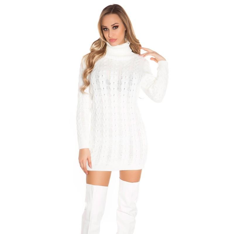 Sexy mini abito in maglia con collo alto tinta unita maniche lunghe ... b334f8628f9