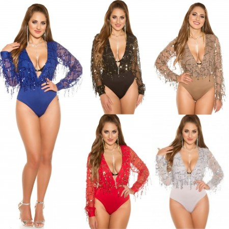 Body Party Maniche Lunghe Glitter Strass Scollo Profondo