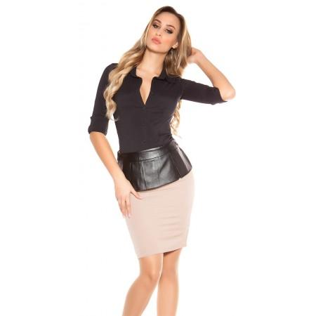 Gonna Tubino Attillato Pencil Skirt alla Moda con Fascia Drappeggio  Similpelle 37d7a6a309d
