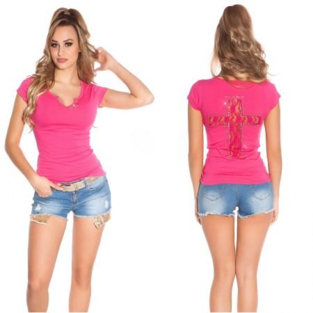 Sexy Shirt Donna Con Sensuale Scollo e Drappeggio Con Fiocco Xl