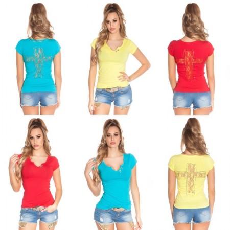 T-Shirt Donna Attillata Scollo V Con Trama In Pizzo Strass  Cross Vari Colori