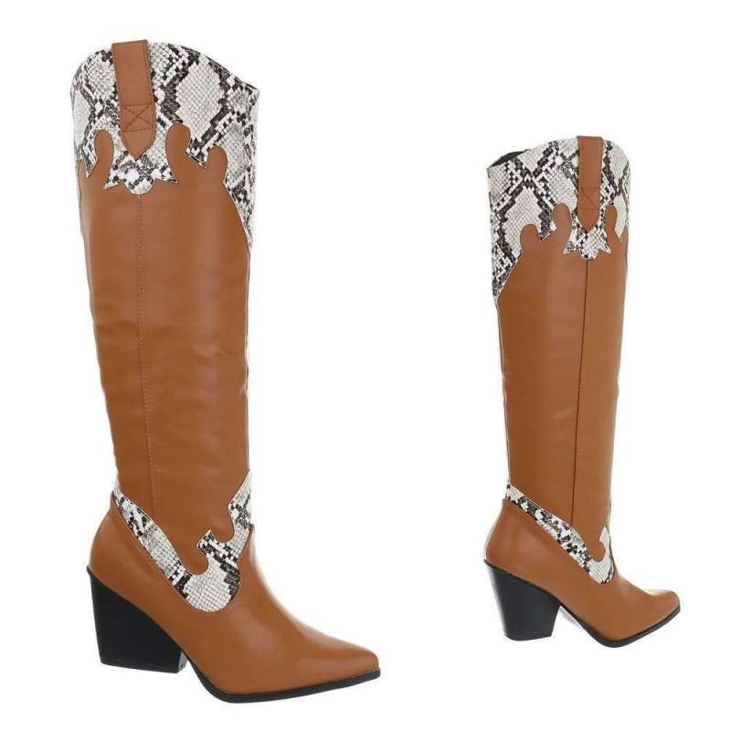 Stivali alti stile texano camperos in ecopelle con dettagli animalier tacco basso a banana