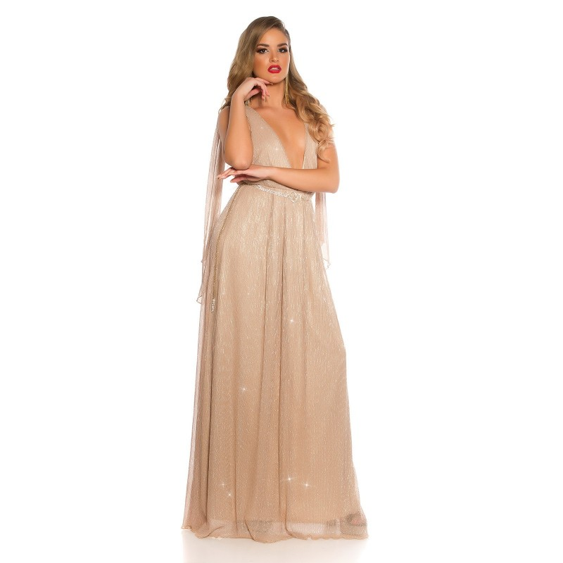 Vestiti Cerimonia Oro.Abito Da Sera Vestito Donna Elegante Cerimonia Capodanno Oro
