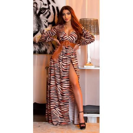 Mini Dress Abito Koucla Animal Print Camicia Maniche Lunghe Con Cinturino