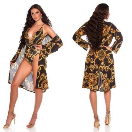 Copricostume camicia dress lungo estivo lurex gold...