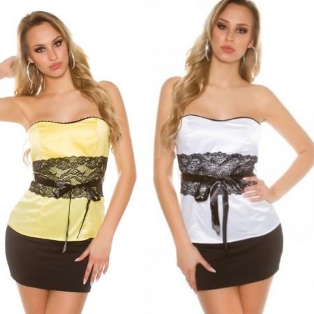 Top donna a fascia maglia maglietta in raso elegante...