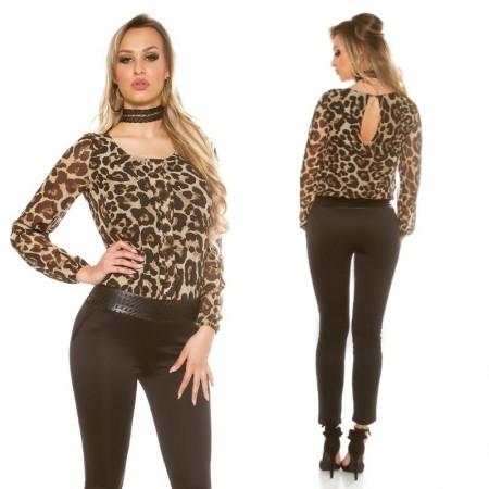 Tuta intera aderente jumpsuit overall leopardato in...