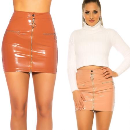 Minigonna tubino miniskirt in simil ecopelle rosso con...