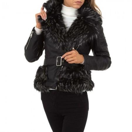 Giacca giubbino cappotto blazer in ecopelle con pelliccia...