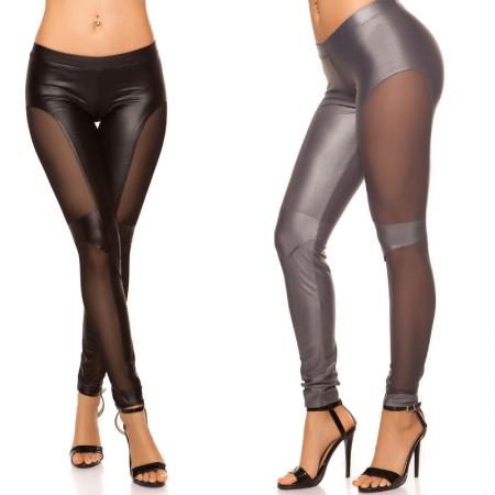 Leggings pantalone pantacollant in similpelle eco nero...